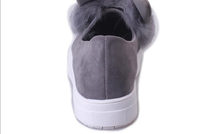 women girls slip on shoes platform flats Fur shoes female casual lady cute Rabbit ears loafer hot joker shoes