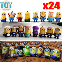 New 24 PCS Minions Collections Despicable Me Cosplay Minions Doll Action Figures 3D Eye 4-6cm Puppets Kids Toys Gifts Tracking(China (Mainland))