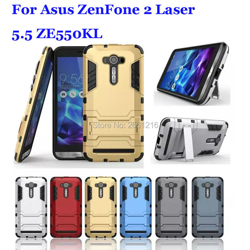 Asus ZenFone 2 Laser 5.5 ZE550KL Iron Man Hybrid Soft TPU + Hard PC Dual Layer Case Shockproof Bumper Stand Holder Cover  -  HANPINYOU 2661216 Store store
