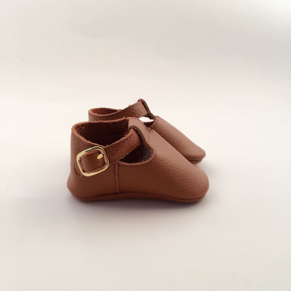 Tan  Geninue Leather Infant Bow Shoes Handmade Baby Shoes