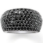 European Style Top Quality Silver Plated 7 Rows Black Crystal Ring Silver Jewelry Free Shipping TS-MRI071(China (Mainland))