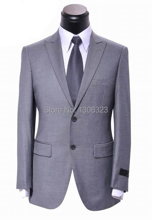 Hot Sale Name 100% Wool Brand Men Suits Silver Grey Business Suits Fashion Dress Suits With Pants 2014 New Arrival,Size S-4XL(China (Mainland))