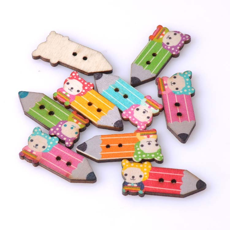 mixed Lobely pencil painted Wooden Sewing buttons for handmade Scrapbooking Craft 100pcs 15x33mm MT0141(China (Mainland))