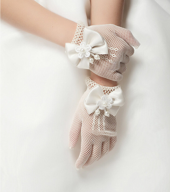 Высокое качество детей платье принцессы перчатки цветочница платье короткие перчатки ...