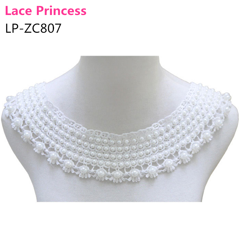 48CM*7CM white and beige Cotton Cute Faux Pearl Lace collar necklace Lace Beads Neckline Collar Sewing Applique LP-ZC807(China (Mainland))