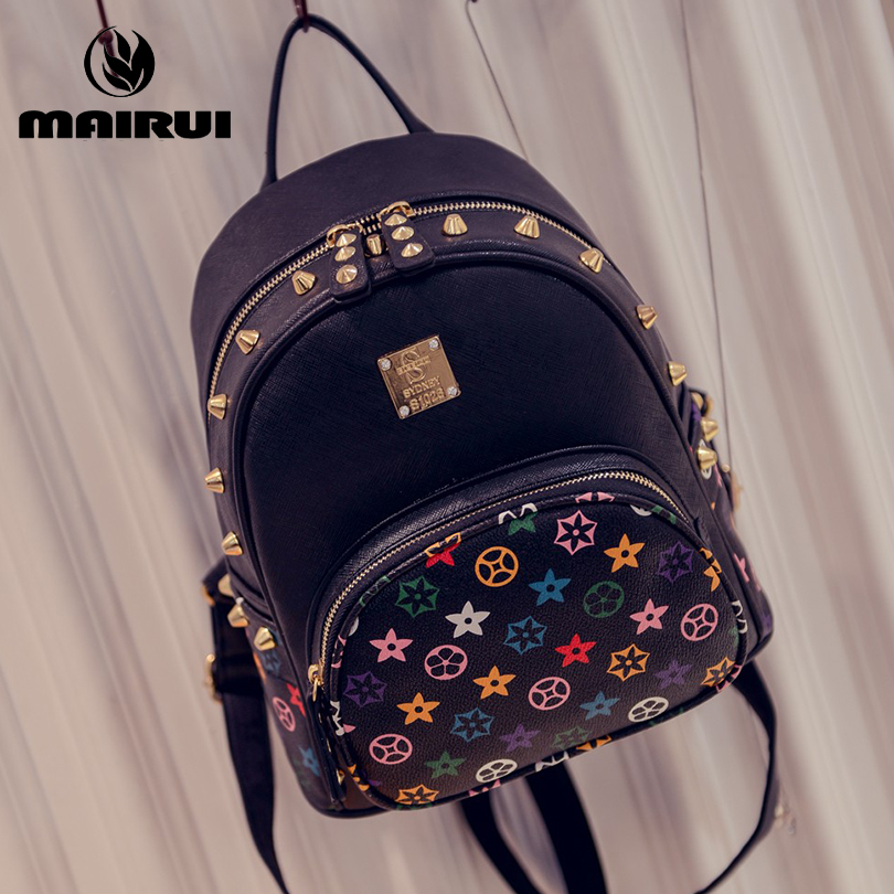 2016 New Hot PU Leather Backpack Female Novelty Women Girl Middle School Students Bag Solid Rivet Travel Shopping Backpacks(China (Mainland))