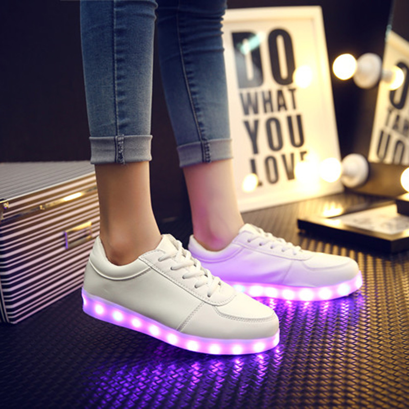 HOT 2016 Women Colorful glowing shoes with lights up led luminous shoes  new simulation sole usb shoes  neon  LED 7 Colors<br><br>Aliexpress
