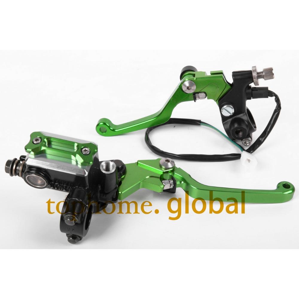 New CNC 7/8 Brake Master Cylinder Pressure Switch Reservoir Levers Dirt Pit Bike Set For KAWASAKI KLX250,D-TRACKER 2008-2013<br>