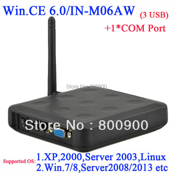 Win.ce 6.0 black color windows 7 thin client N380W with 1 COM WiFi Builtin 3 usb port ARM11 800MHZ RDP 5.0 connection to server