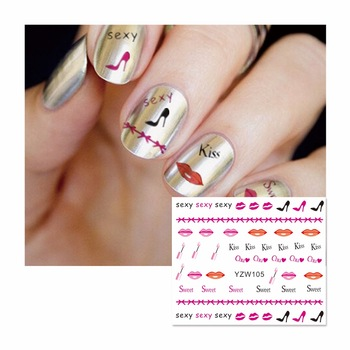 YZWLE 1 Sheet Fashion Kiss Lips Designs DIY Decals Nails Art Water Transfer Printing Stickers For Nails Salon 105