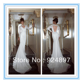 New Arriva Long Sleeve Chiffon Backless  Arabic Wedding Dresses  (WDS-1026)