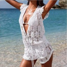 Women's beach Clothing summer outfits fashion lace Jumpsuits Shorts sexy v-neck hollow out white overalls crochet floral rompers