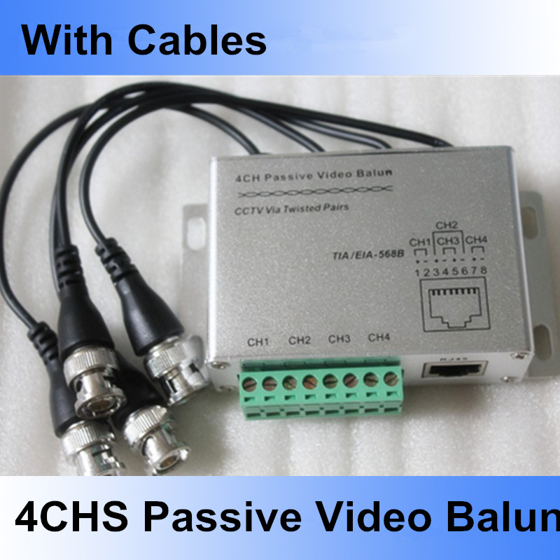 4CH Passive Video Balun UTP video balun CCTV Balun 4 Channel transmitter BNC Female to UTP Rj45 CCTV Camera DVR Cat5 with Cables(China (Mainland))