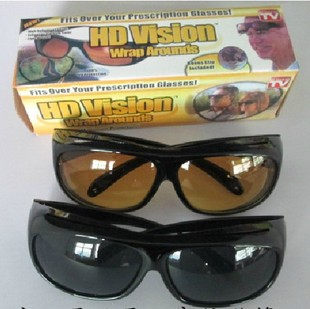 Hot Selling HD High Definition Vision Driving Wrap Around Sunglasses Wraparounds Glasses 2pcs/set(China (Mainland))