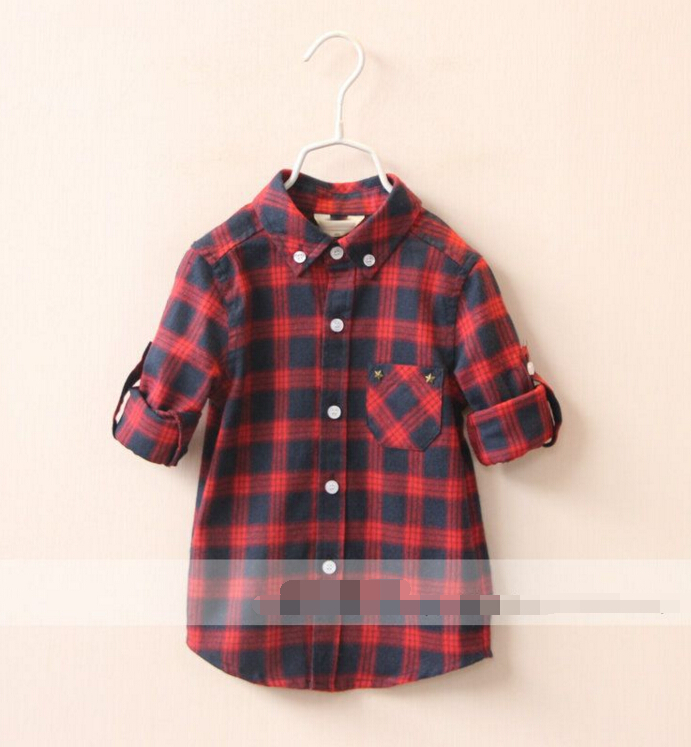 Best-Selling Childrens baby Pentagram riveting pocket plaid shirt girls Casual shirts tops wholesale<br><br>Aliexpress