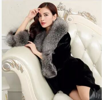 Women'S Long Fox Fur Collar Jacket Casual Slim Mink Coat Large Size Patchwork Femlae Winter Outwear Black J273 - yue clothes store