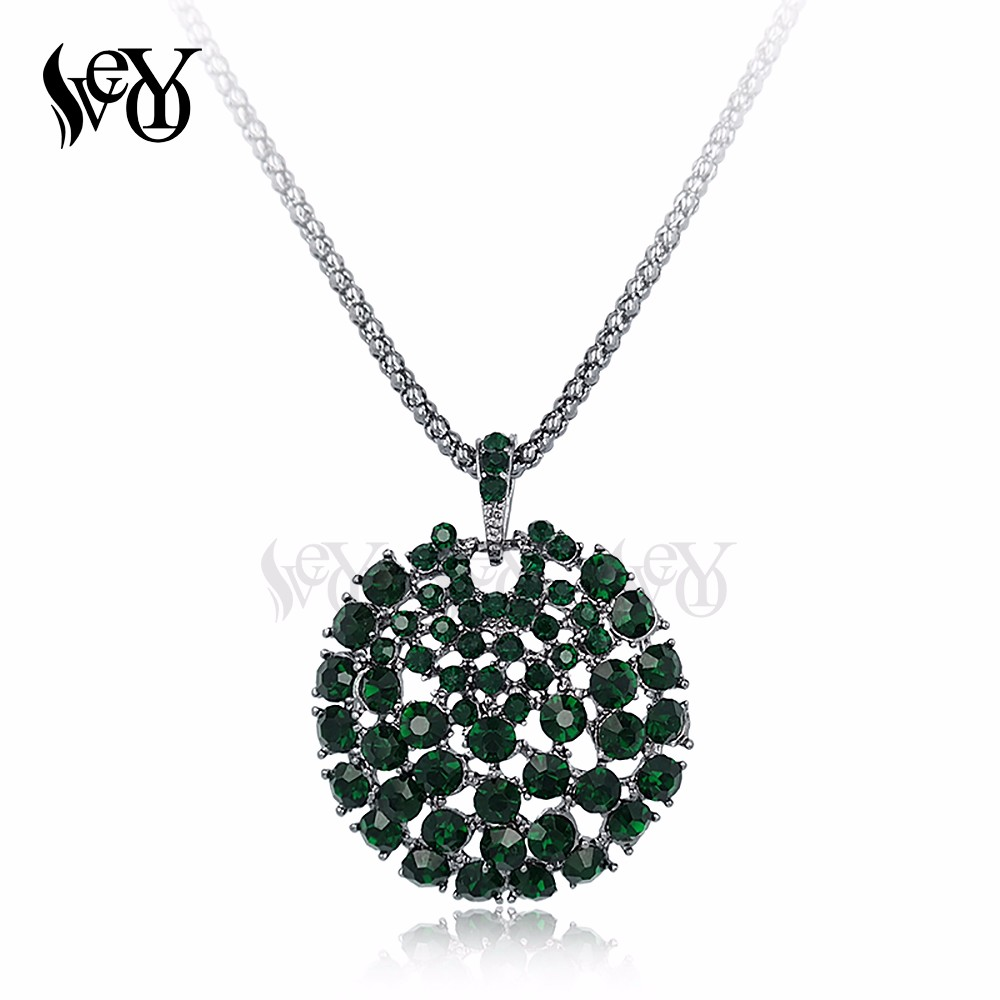 VEYO Rhinestone Necklace Round Necklace & Pendant for Women Environmental Protection Electroplating Full of Rhinestone Necklace