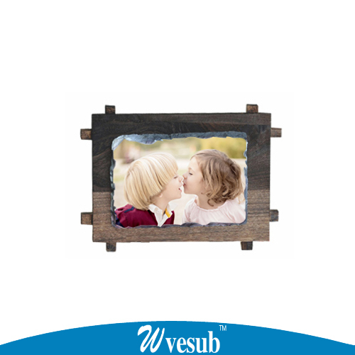 12*17cm Classic stone sublimation photo slate with wooden frame edged, classic wood wooden photo frame for gift(China (Mainland))