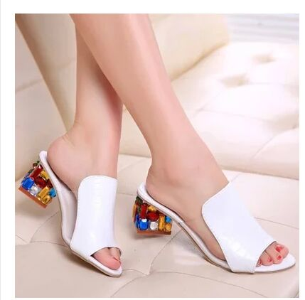 2016 Summer  Fish Head  Sandals Women Square Heel Flip Flops  Spring New Shoes Rome-Based Fashion Casual Shoes White/Purple <br><br>Aliexpress