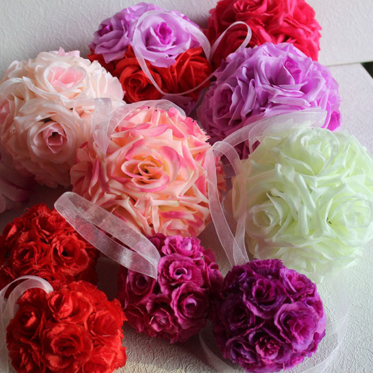 Wholesale 5Pcs/lot Artificial Silk Flower Rose Balls Wedding Centerpiece Pomander Bouquet Party Christmas Decorations Holiday(China (Mainland))
