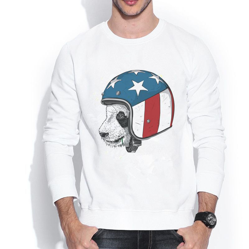 dorable panda wearing an USA flag helmet riding all the way 1609889 3D Retro Design Print Crew Neck Men's Sweatshirts(China (Mainland))