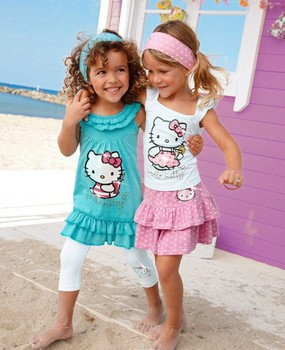 QZ-281,Free Shipping!baby girls dress suit Hello Kitty kids clothes 2pcs summer children clothing set Wholesale And Retail