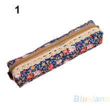 Fashion Mini Retro Flower Floral Lace Pencil Shape Pen Case Cosmetic Makeup Make Up Bag Zipper Pouch Purse 02OK