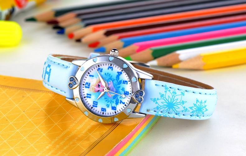 Disney бренда детская наручные часы Мальчик в девочке мультфильм Замороженные 30 м водонепроницаемый кварцевые часы Кожа смотреть дети Алмаз
