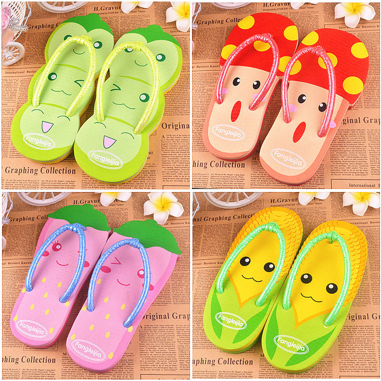 Cartoon Pinch Women Lovely Summer Jandal Sandalia Mujer Slippers Candy Color Beach Skid Fruits Vegetables - Buyworld Store store