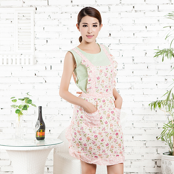 Flower Lace Restaurant Home Cooking Kitchen Bib Apron Cotton Dress With Pockets Free Shipping(China (Mainland))
