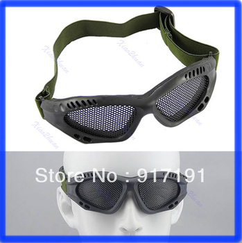 Free Shipping Tactical Goggles Outdoor Eye Protective With Metal Mesh for CS Game Airsoft Safety