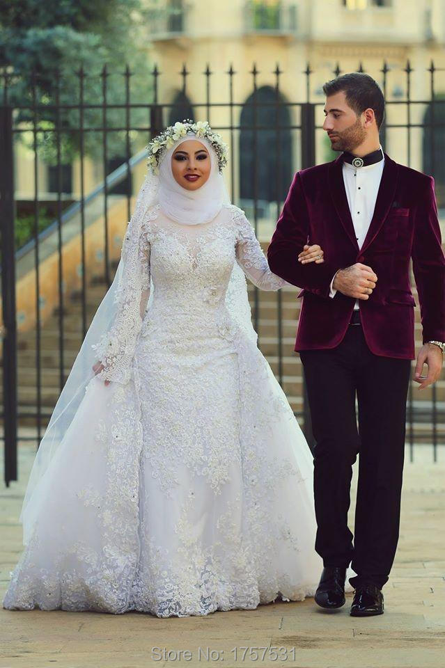 Custom made 2015 white arab muslim wedding dresses white for Muslim wedding dress photo