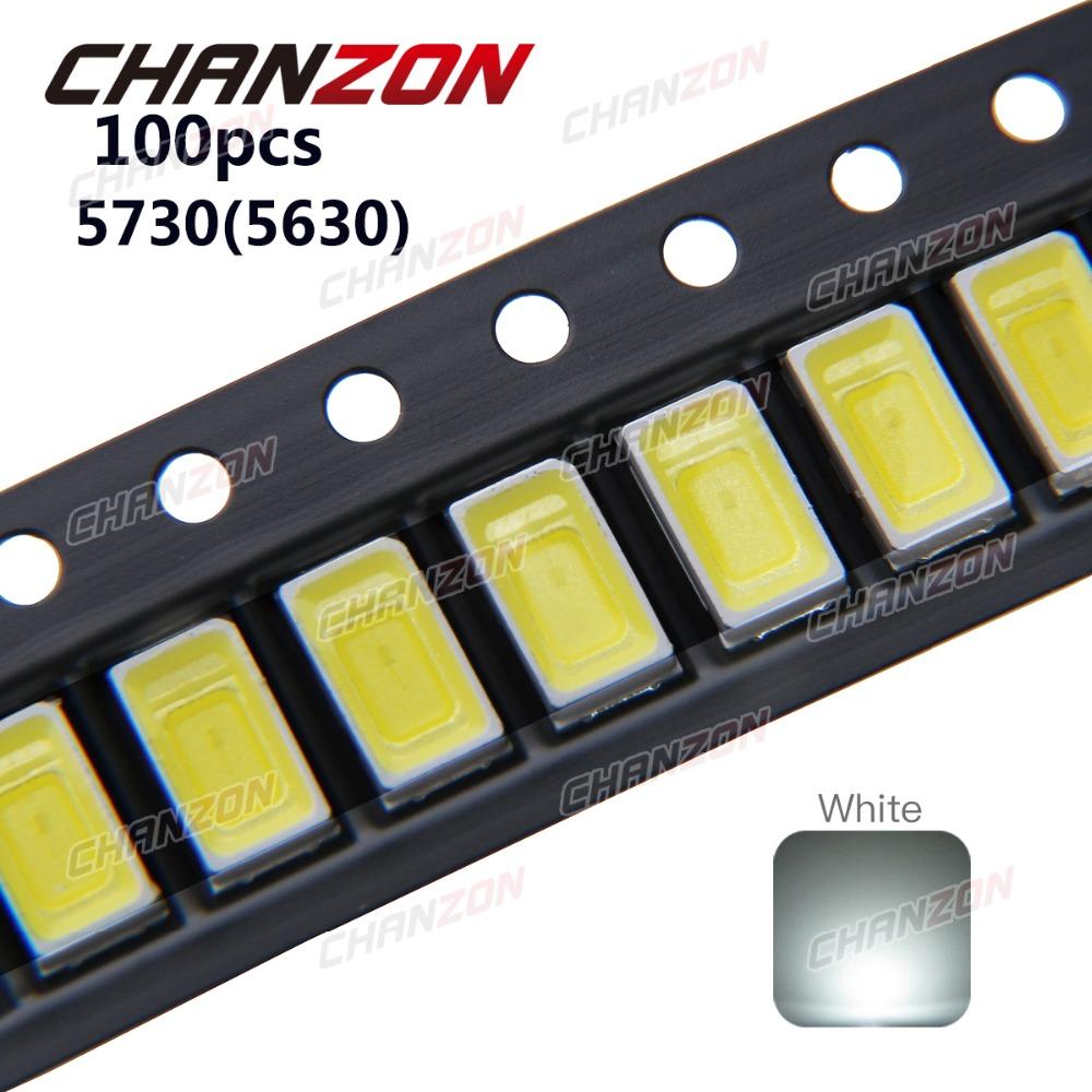 100 pcs SMD5730 Ultra Bright 0.5W LED 5630 SMD 5730 Diode White 6000k 6500k Super Bright Chip SMD5630 5730SMD SMT Emitting Diode(China (Mainland))