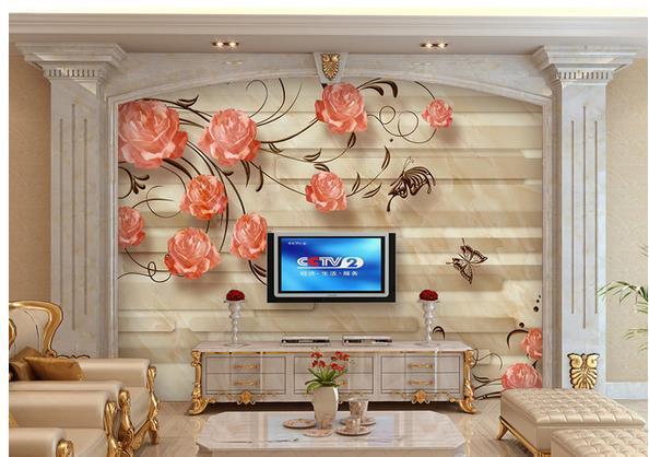 Papel de parede Contemporary stone tiles TV Sofa non-woven wallpaper new large murals costomize size 20152637(China (Mainland))
