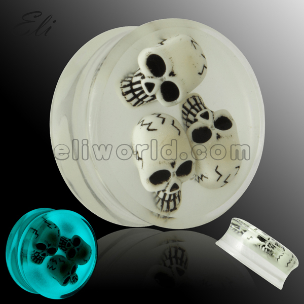 Retail 1 PC Sold As Piece 10-30mm Glow Blue In The Dark Acrylic Skull Double Flared Saddle Ear Plug(China (Mainland))