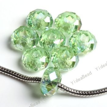 green  Faceted crystal Charm Beads Jewelry accessories Fit European Bracelet 152060  20pcs/lot