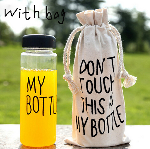 """My bottle"" 500 ml Korea Style Plastic Clear Portable Sportive Water Bottle With Gift Bag(China (Mainland))"