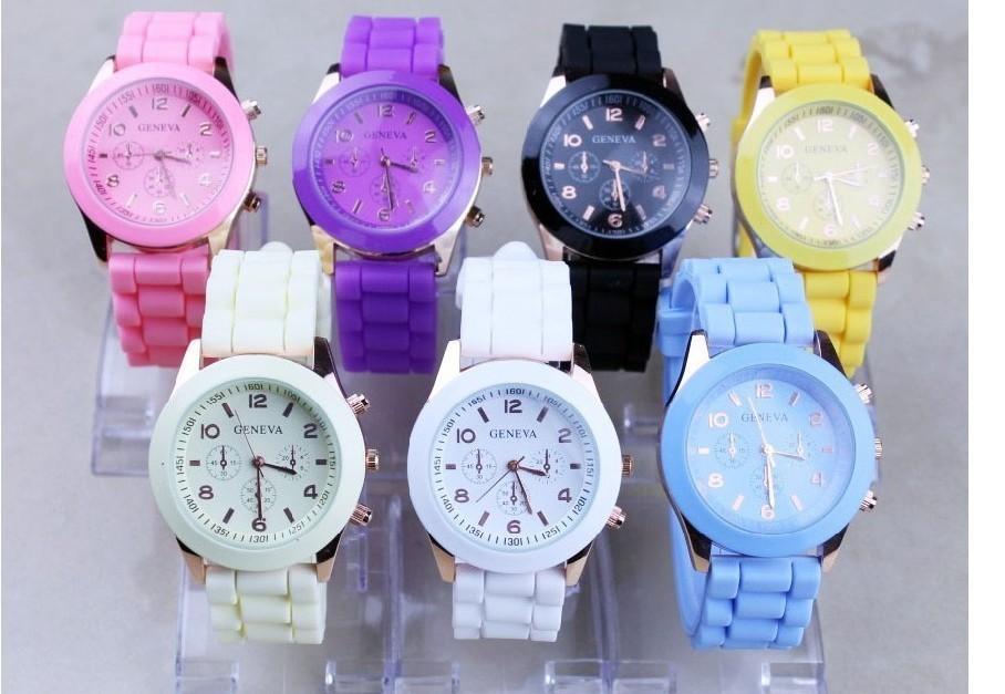 Casual Watch Geneva Unisex Quartz watch 14color men women Analog wristwatches Sports Watches Rose Gold Silicone
