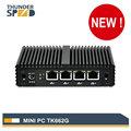 Fanless Mini PC 4 LAN Port Intel J1900 Mini Desktop Computer Barebone 12V Linux Pfsense NUC