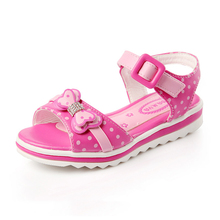 Kids Sandals Girls Summer 2016 New Dot Bow Shoes For Girls Fashion Princess Fish Head Kids Shoes 9021W(China (Mainland))