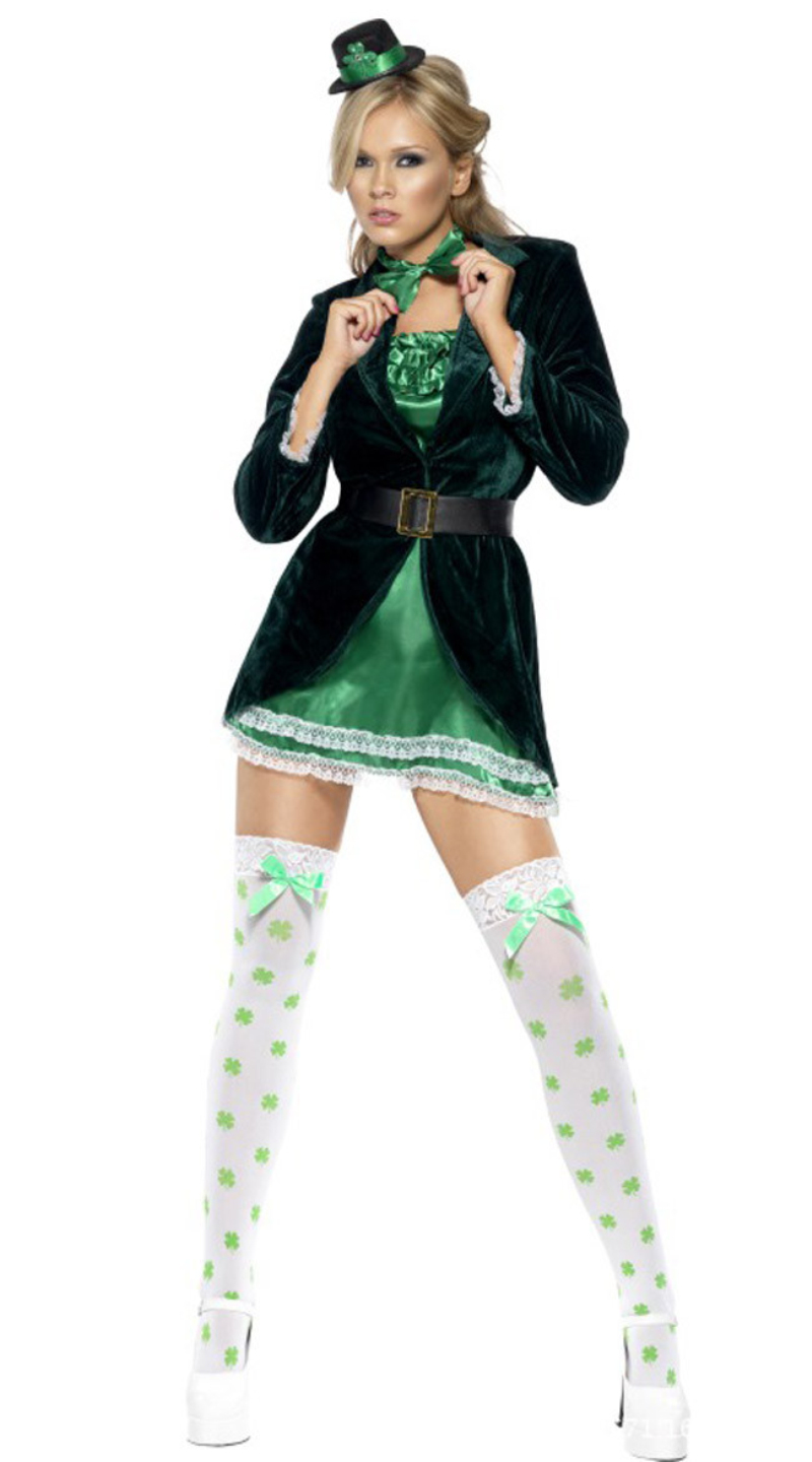 Hot! Adult Women's Sexy Halloween Carnival Party Dress St Patrick Day Irish leprechaun Costume Outfit(China (Mainland))