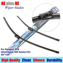 """Buy wiper blades Peugeot 308 (Hatchback/SW Estate/CC) 30""""+26""""R Rubber fit push button type Car windshield wiper arms LS590 for $13.29 in AliExpress store"""