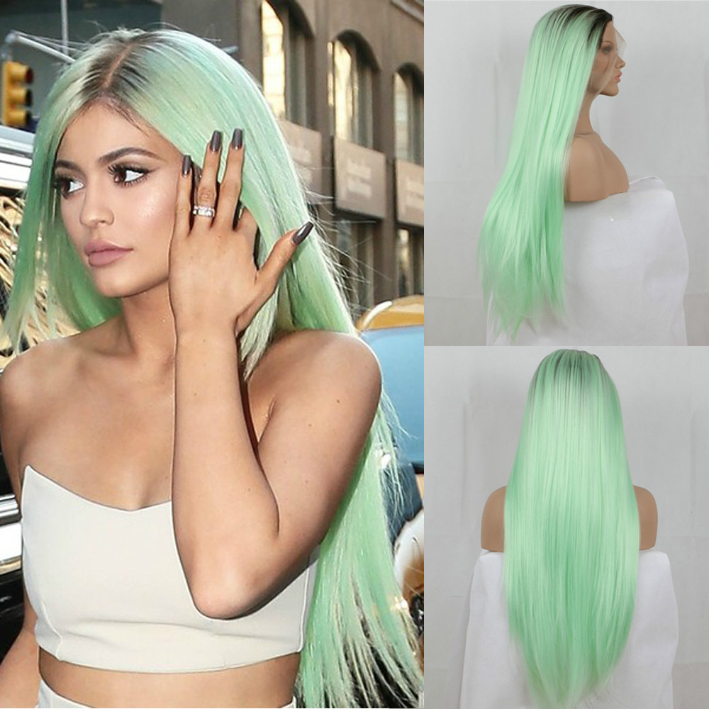 Fashion Ombre Mint Green Long Straight Synthetic Lace Front Wig Glueless TwoTone Dark Brown/Green Heat Resistant Hair Women Wigs