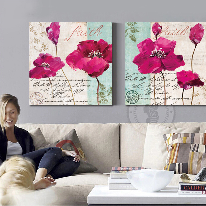 fashion rose red poppy flower painting canvas art home