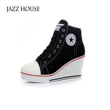 Black White Women Shoes Platform 2016 Hidden Wedge Boots Shoes For Women High Heel Top Canvas Shoes Casual Shoes Ladies 35-41