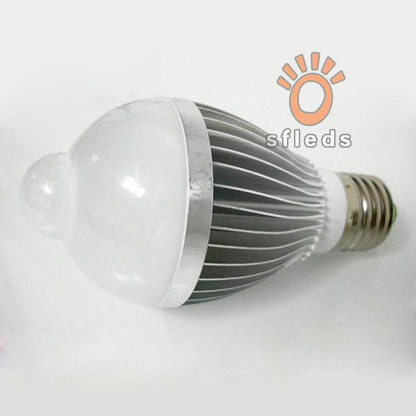 Free shipping(2pcs/lot) 5W/7w Aluminum light lamp bulb e27 base 85-265v led infrared motion sensor bulb(China (Mainland))