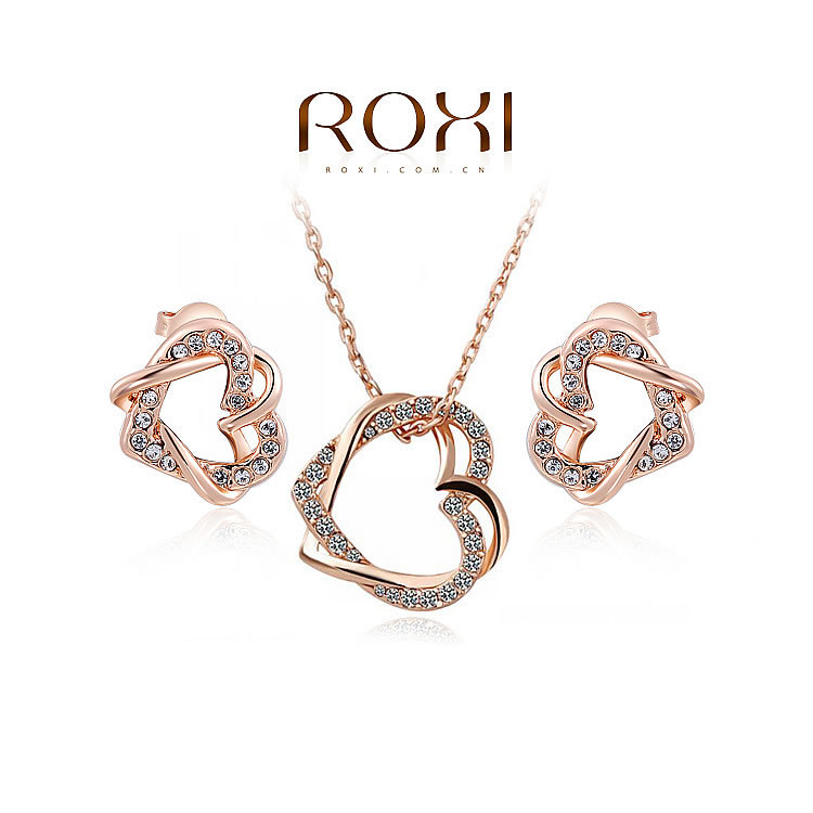 Sales ROXI Free Shipping Elegant Statement Rose Gold Plated Double Heart Set Earrings+Necklace Fashion Jewelry Party<br><br>Aliexpress