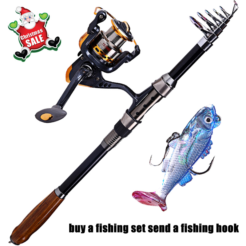 2.1m/2.4m/2.7m Telescopic Carbon Fishing Rod Combo and 14BB Spinning Fishing Reel Set Fishing Tackle Set Kit Vara De Pesca<br><br>Aliexpress