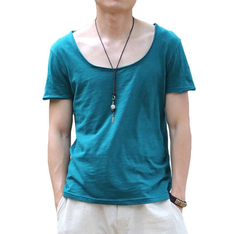 2015 fitness t shirts for men fashion v neck cotton t for Branded v neck t shirts