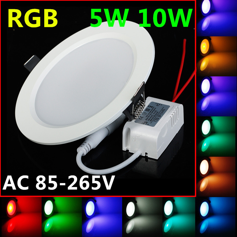 Promotion 5W 10W LED RGB bulb AC85~265V LED RGB DownLight LED ceiling Lamp 24Colors+Romote controller Bright Limited Offer(China (Mainland))